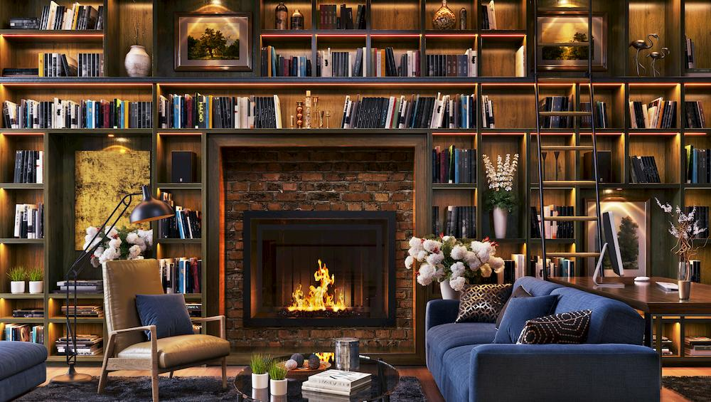 fireplace couch books