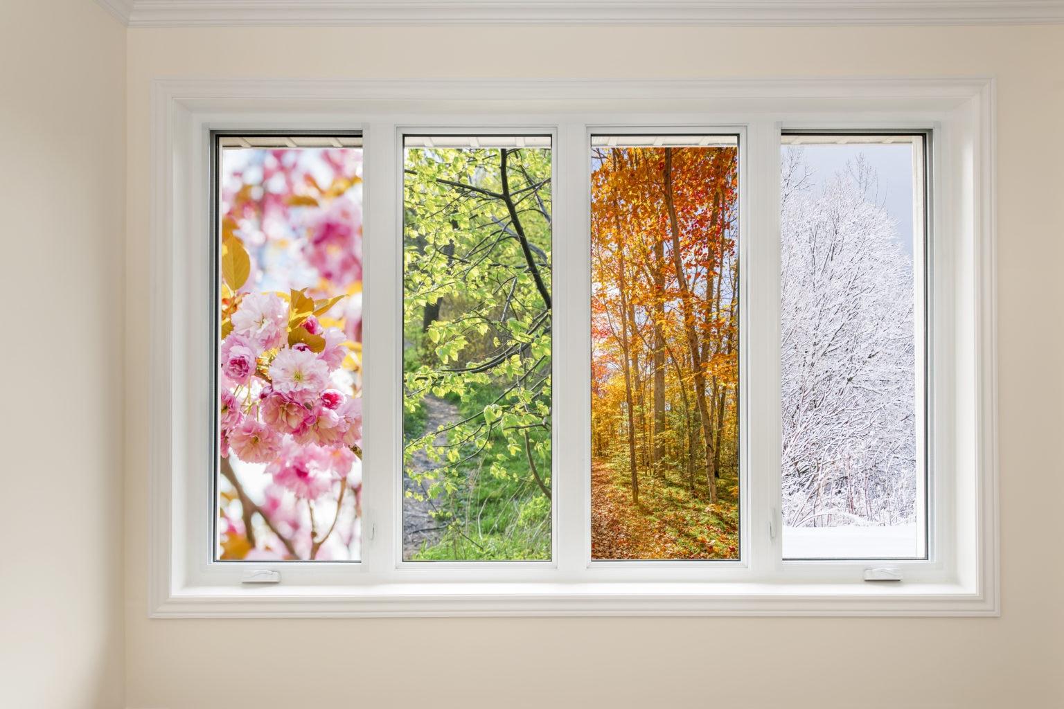 seasons through a casement window